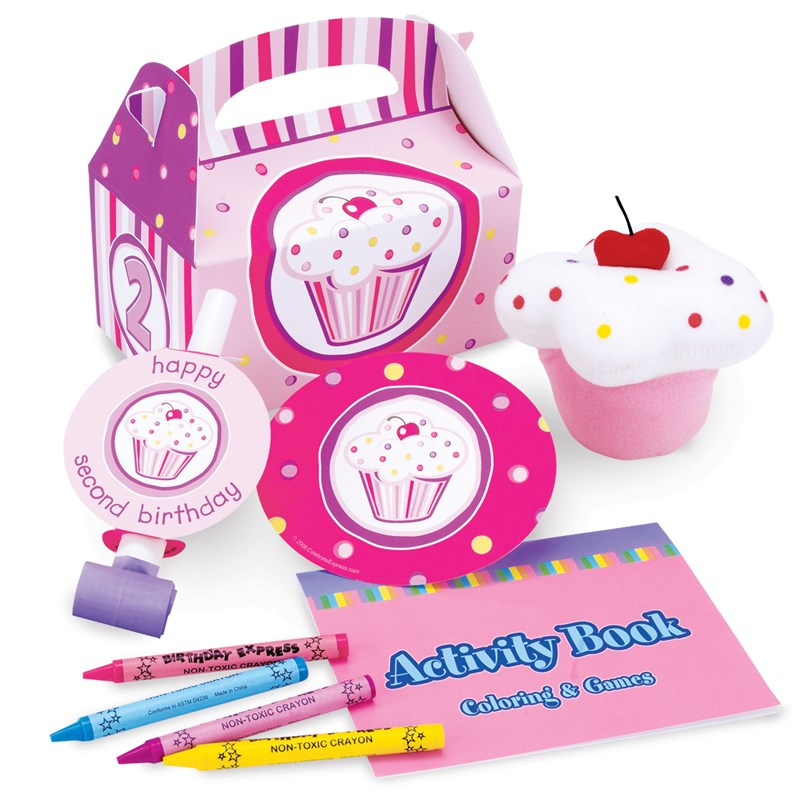 Girl's Lil' Cupcake 2nd Birthday Party Favor Box