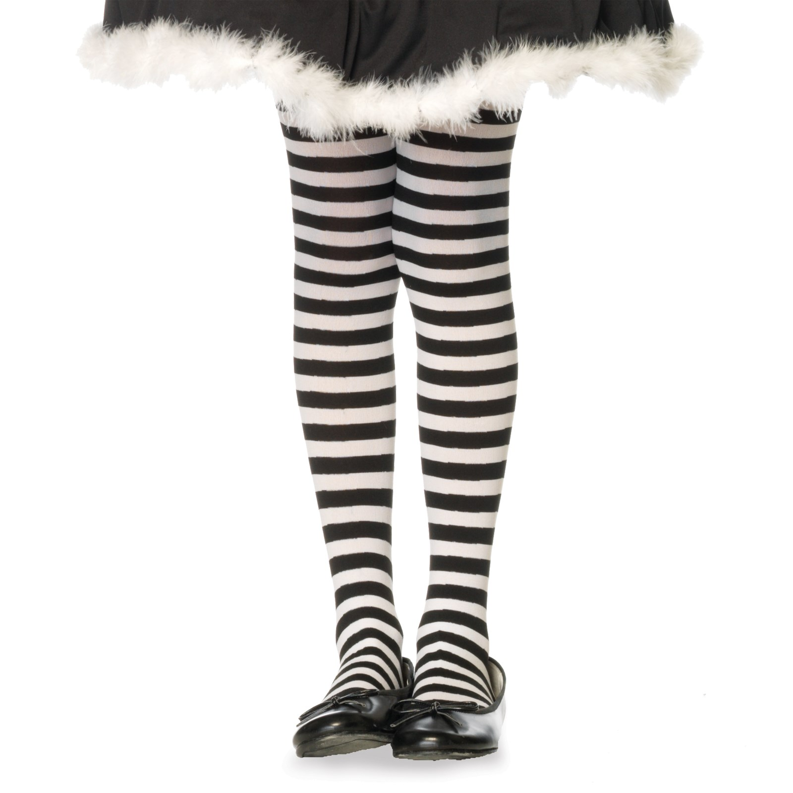 Striped Tights (Black/White) Child Large (7/10)