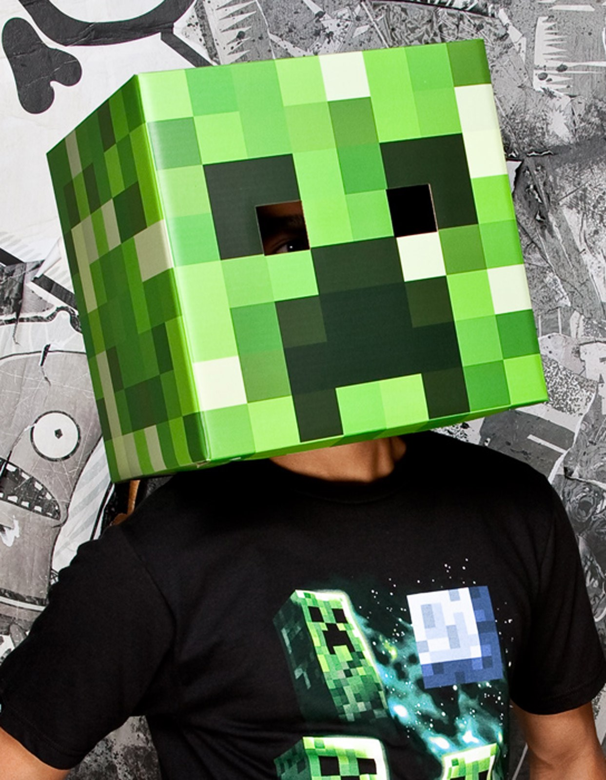 Image of Minecraft Creeper Head Mask Adult One-Size