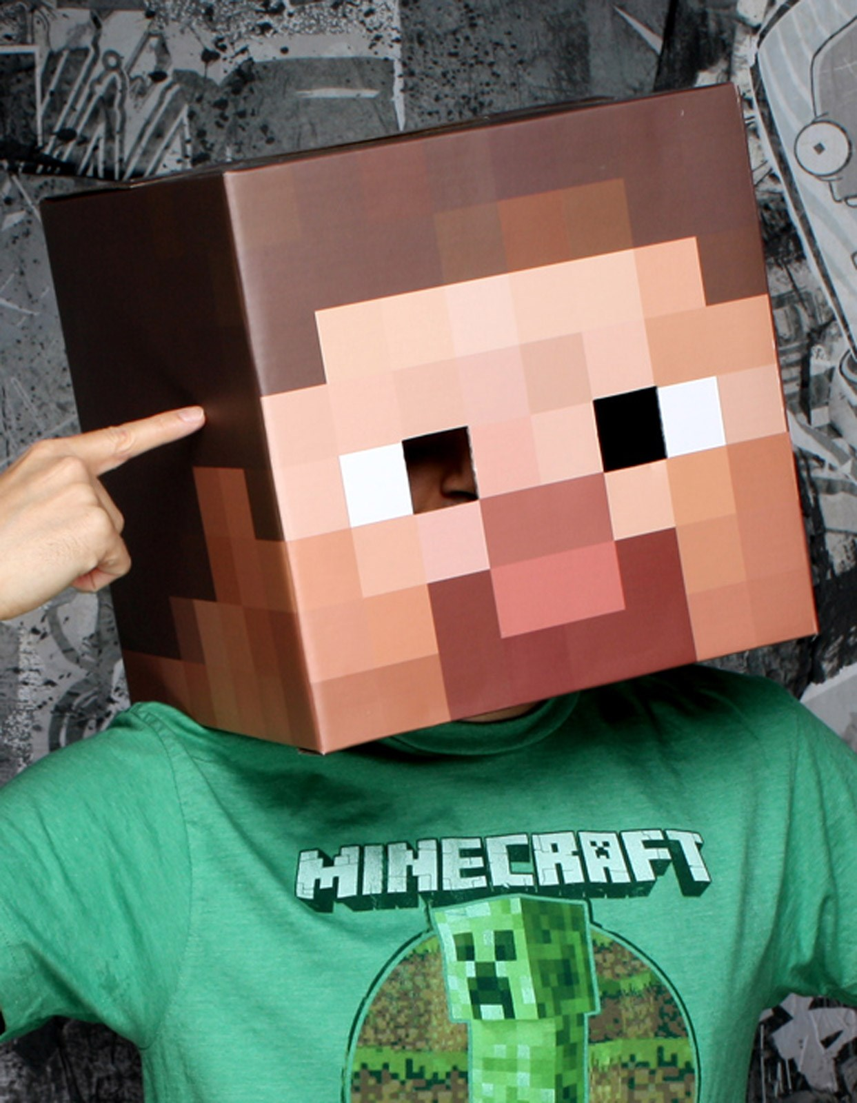 Image of Minecraft Steve Head Mask Adult One-Size