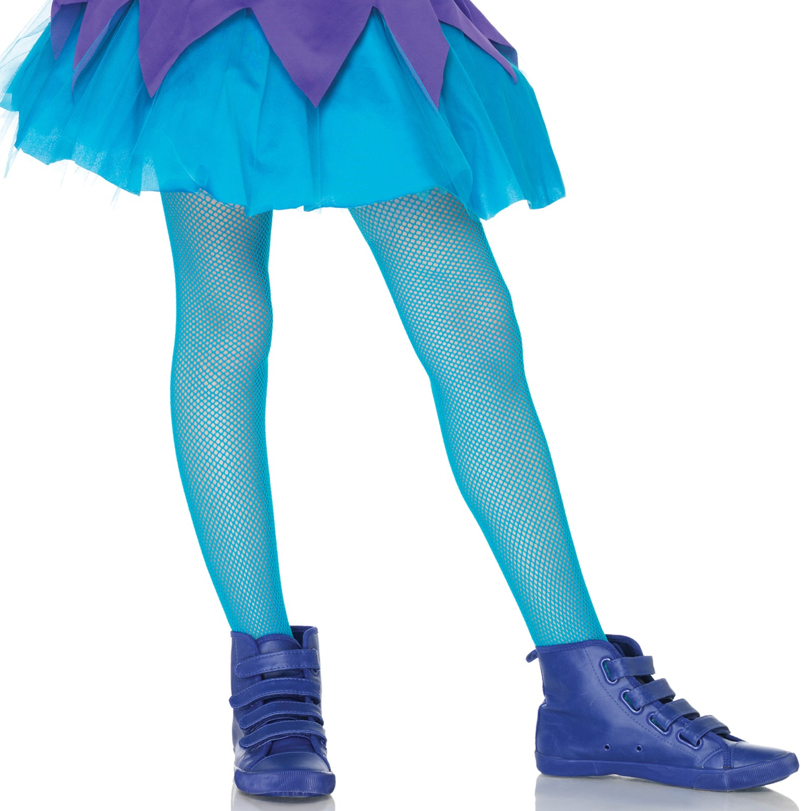 Neon Blue Kids Fishnet Tights Large
