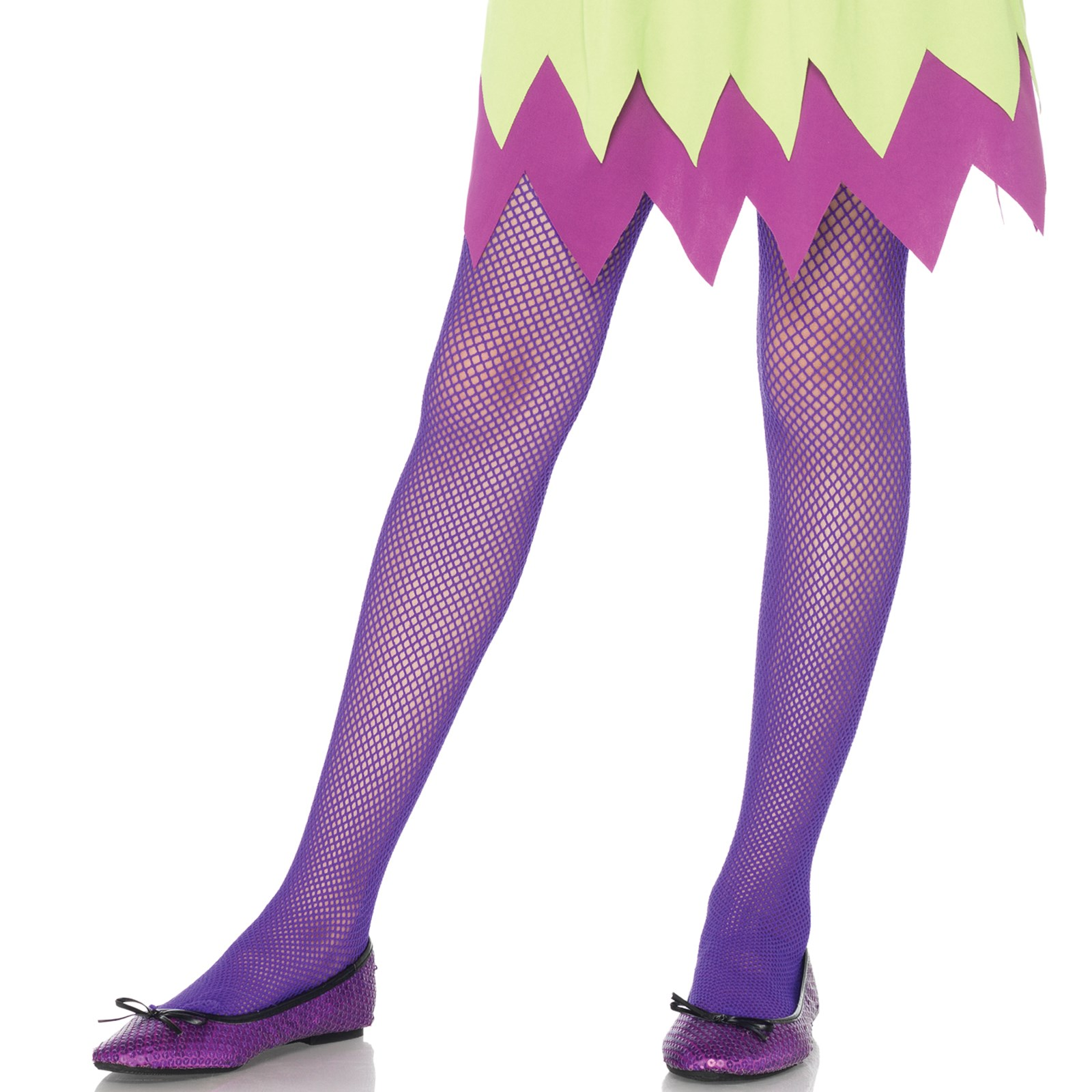 Neon Purple Kids Fishnet Tights Large