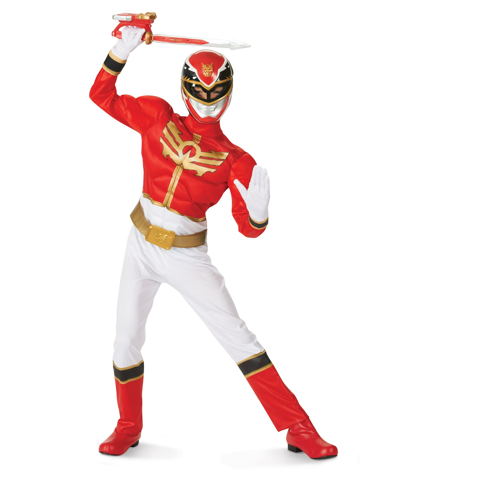 Red Power Ranger Megaforce Muscle Chest Child Costume 7-8