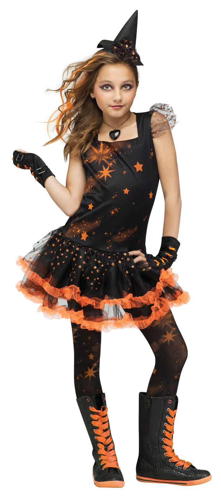 Orange Sparkle Witch Girls Costume Small (4-6)