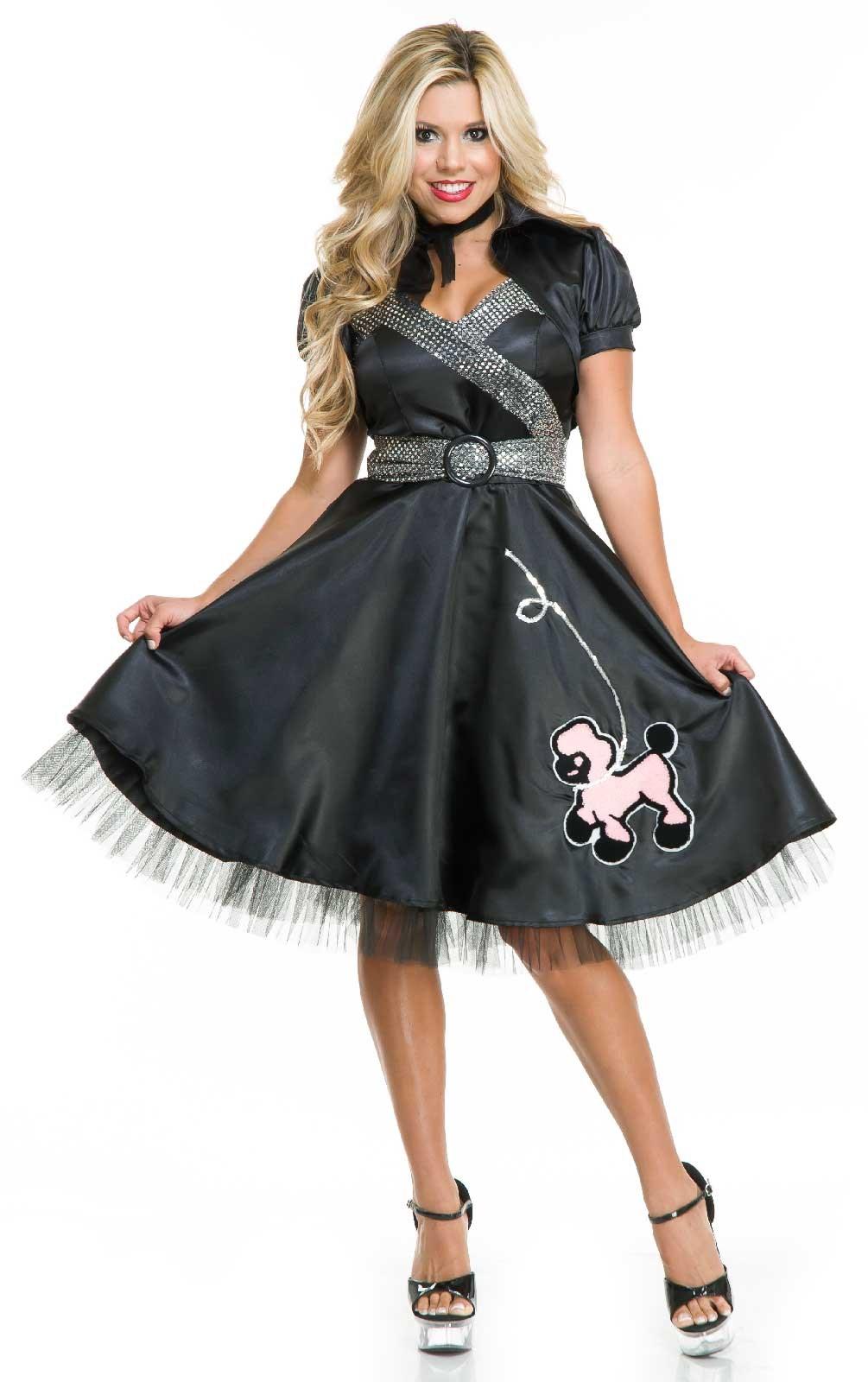 Image of 50s Satin Adult Poodle Dress Costume Large