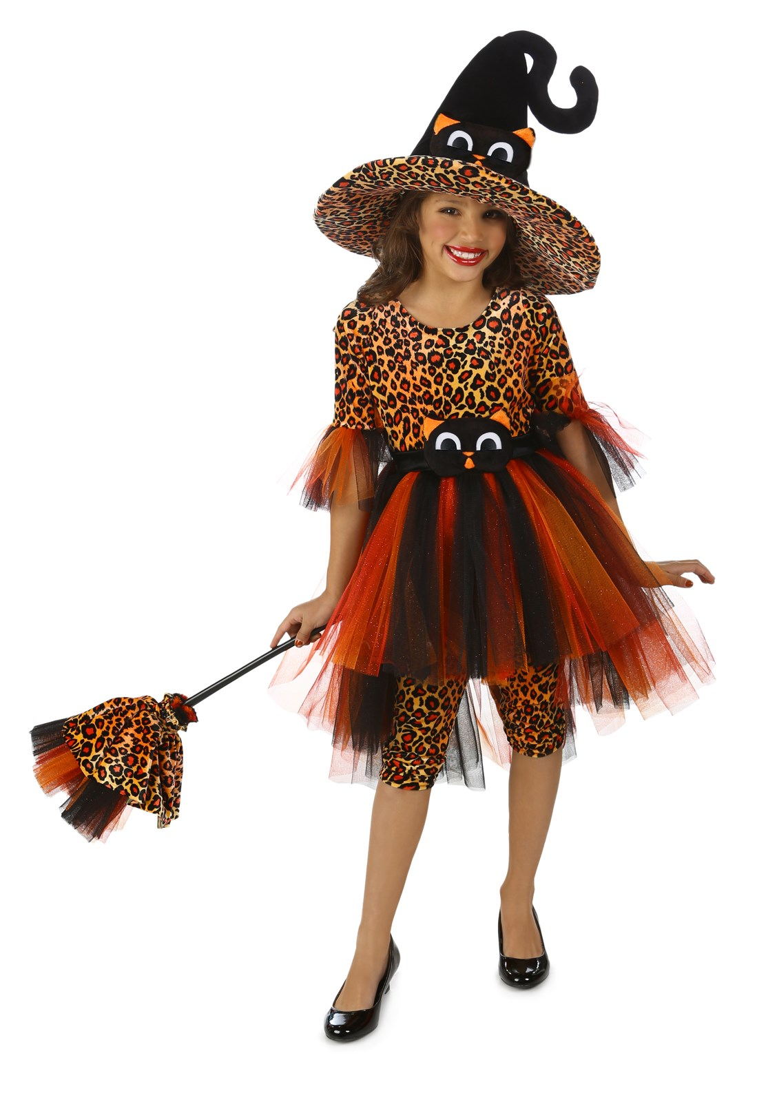 Deluxe Orange Kitty Witch Girls Costume Large (10)