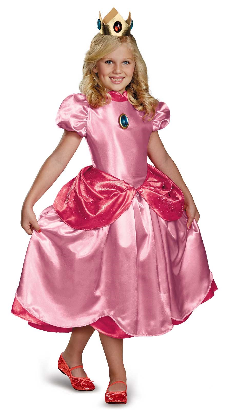 Super Mario Brothers Deluxe Princess Peach Dress Costume Large (10-12)