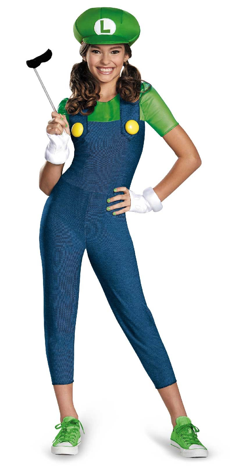 Super Mario Brothers Luigi Tween Girl Costume Medium (7-8)
