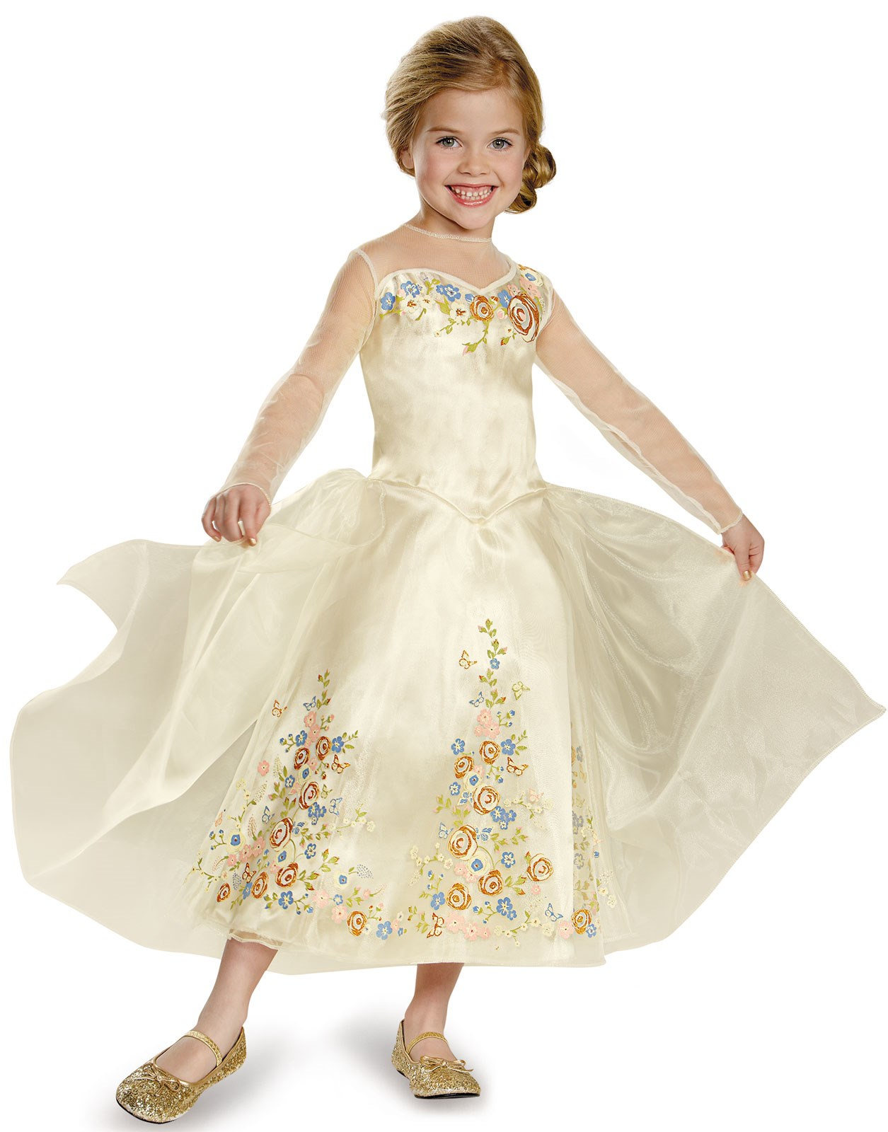 Disney Cinderella Movie Wedding Dress Deluxe Outfit for Kids XS (3T-4T)