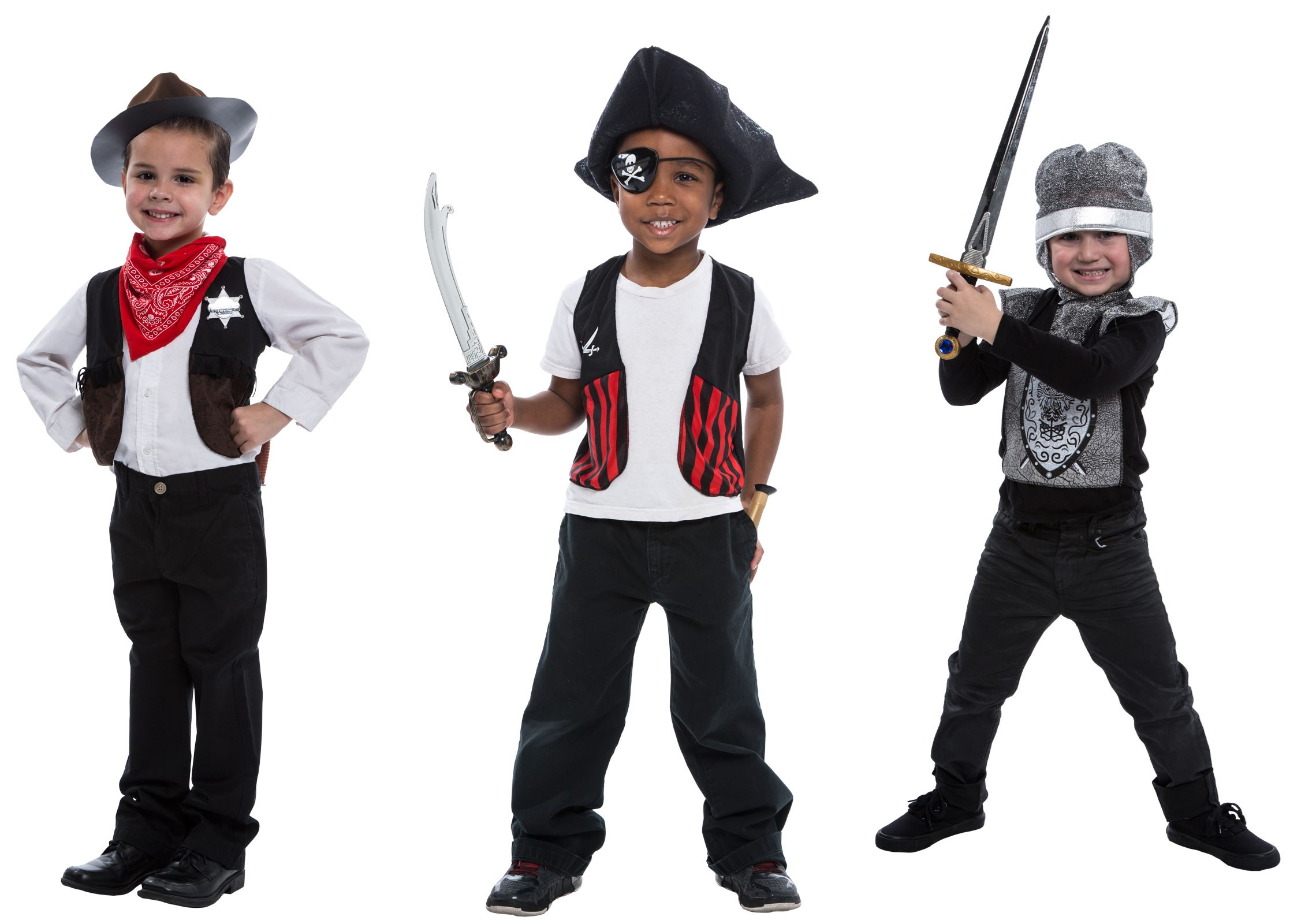 Deluxe 3-in-1 Costume Kit: Cowboy  Knight Sheriff Small (4-6)