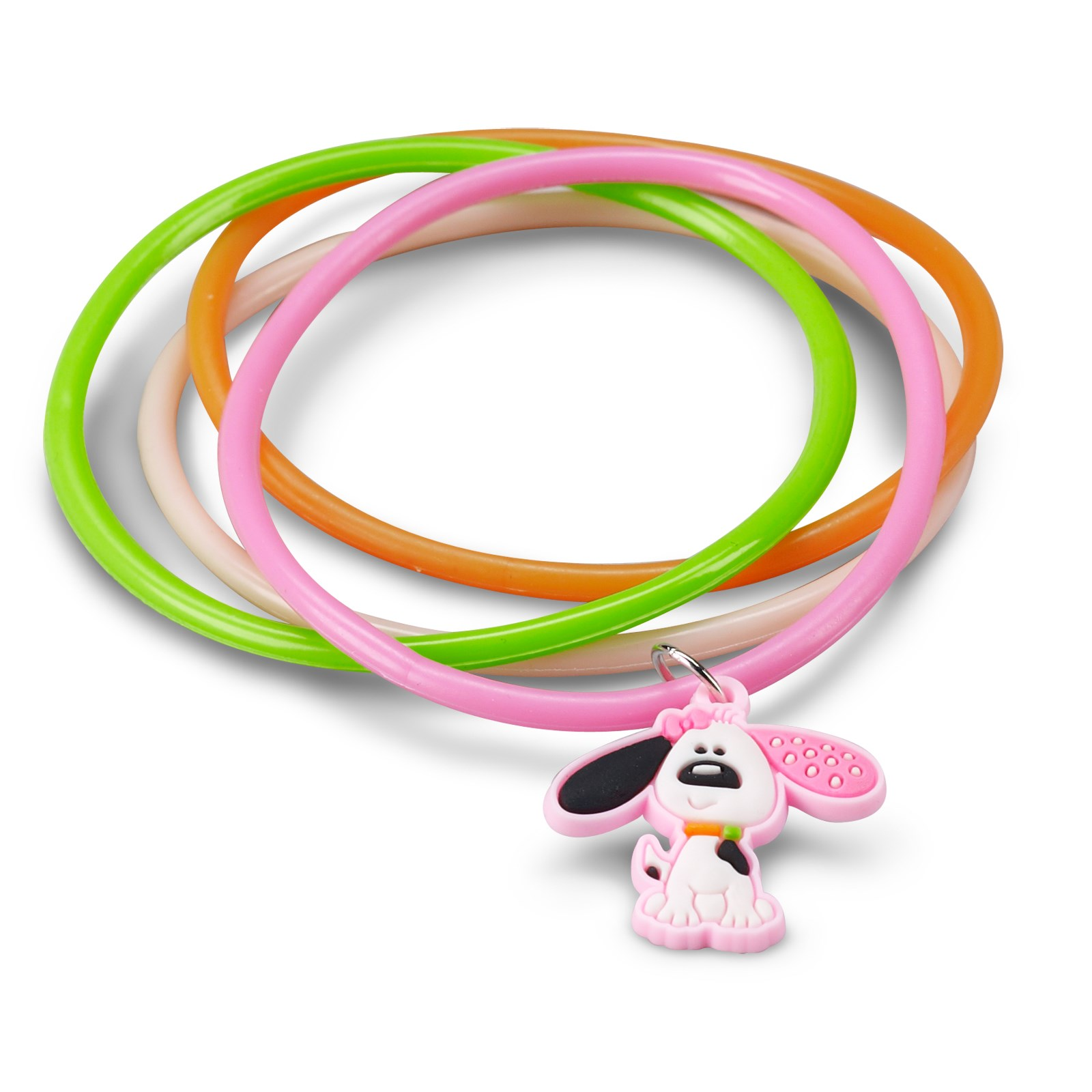 Playful Puppy Pink Rubber Bracelets