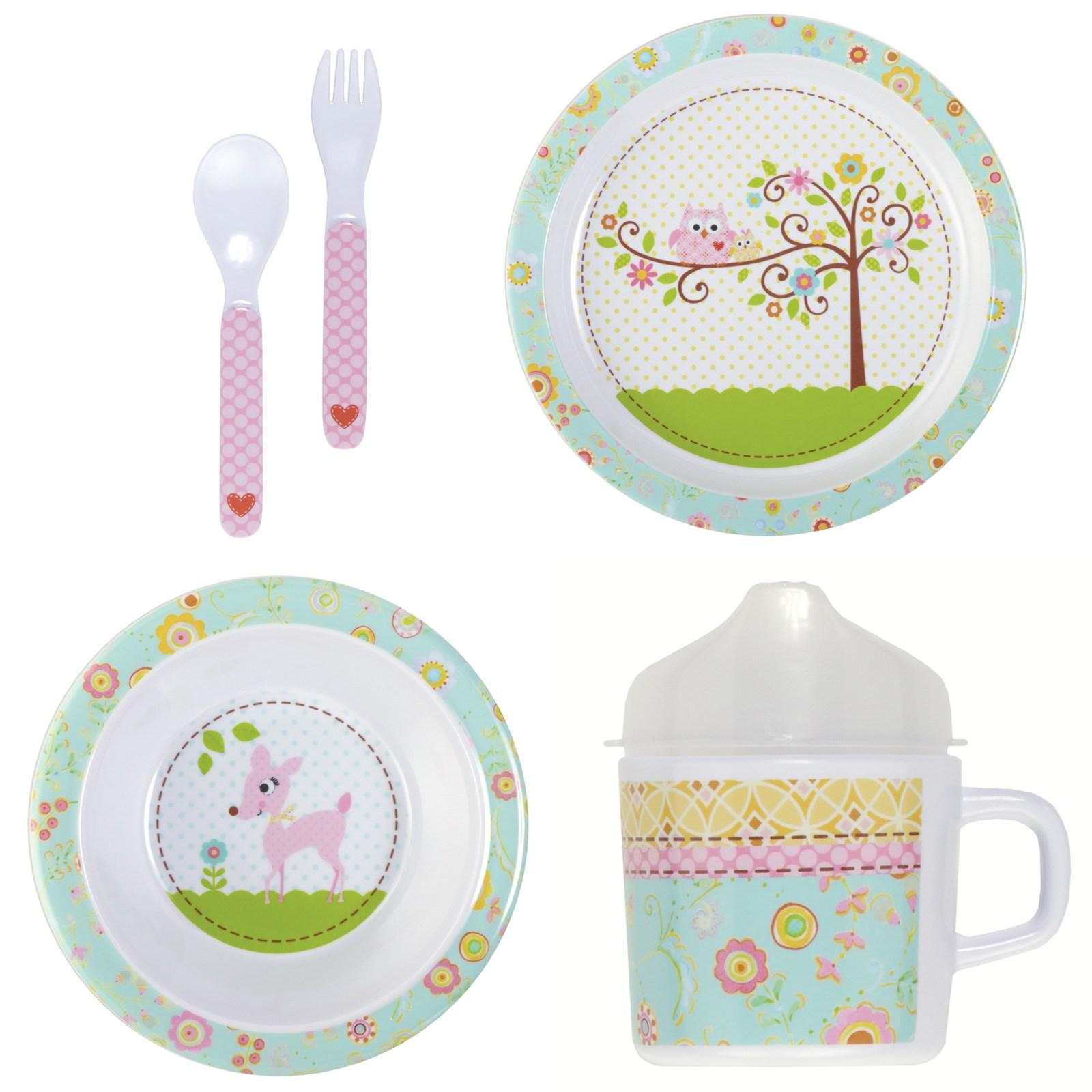 Image of Happy Baby Girl Melamine Dinnerware Set