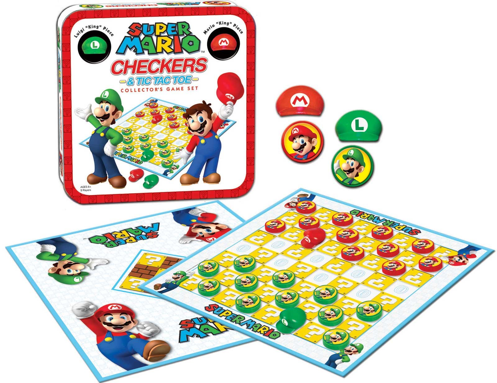 Super Mario Checkers / Tic Tac Toe Collector's Game Set