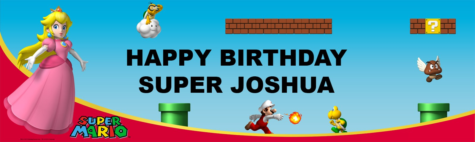 Super Mario Bros. - Princess Peach Personalized Birthday Banner