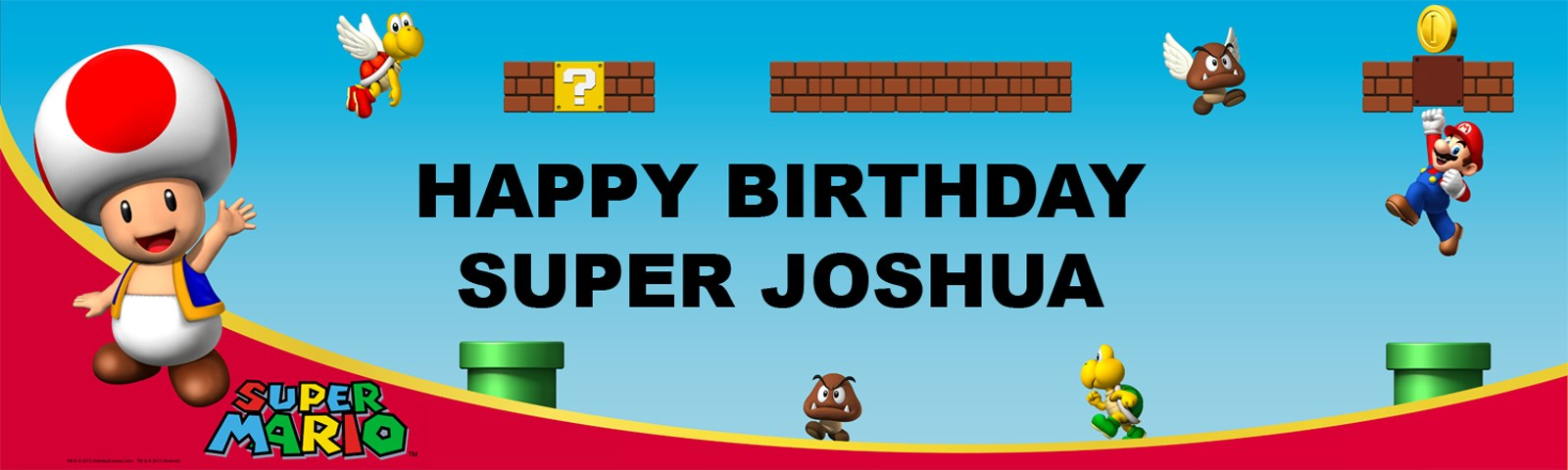 Super Mario Bros. - Toad Personalized Birthday Banner
