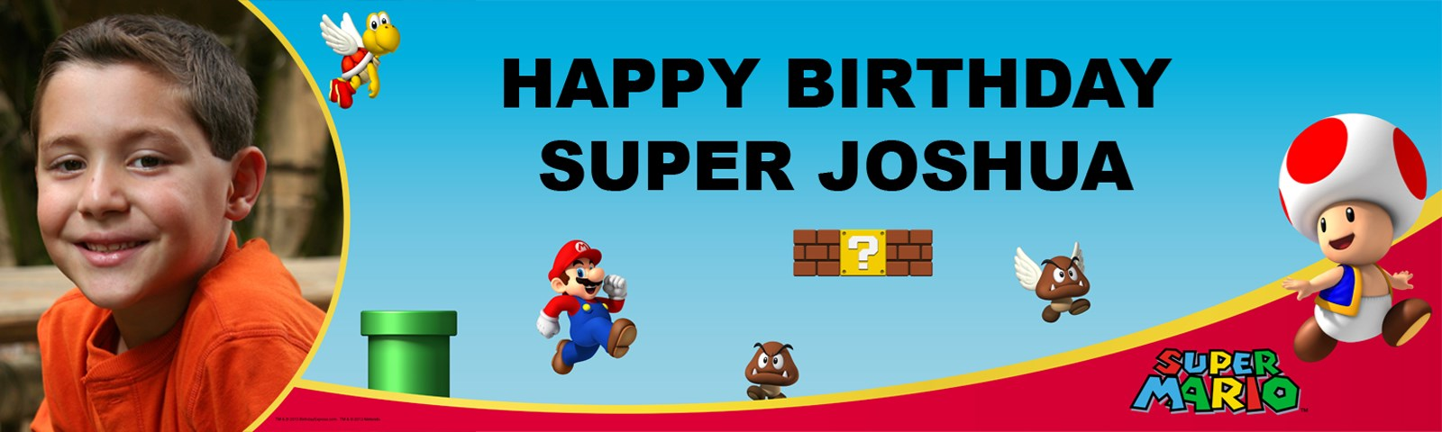 Super Mario Bros. - Toad Personalized Photo Banner