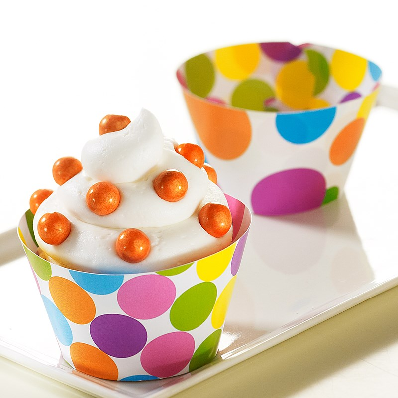 Bright Dots Reversible Cupcake Wrappers