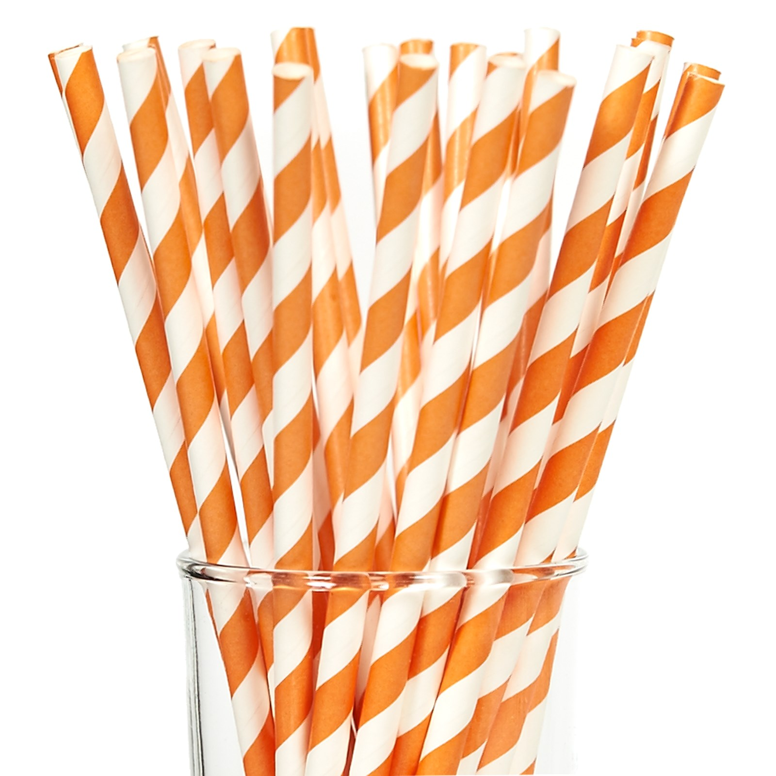 Image of Orange Striped Paper Straws (25)