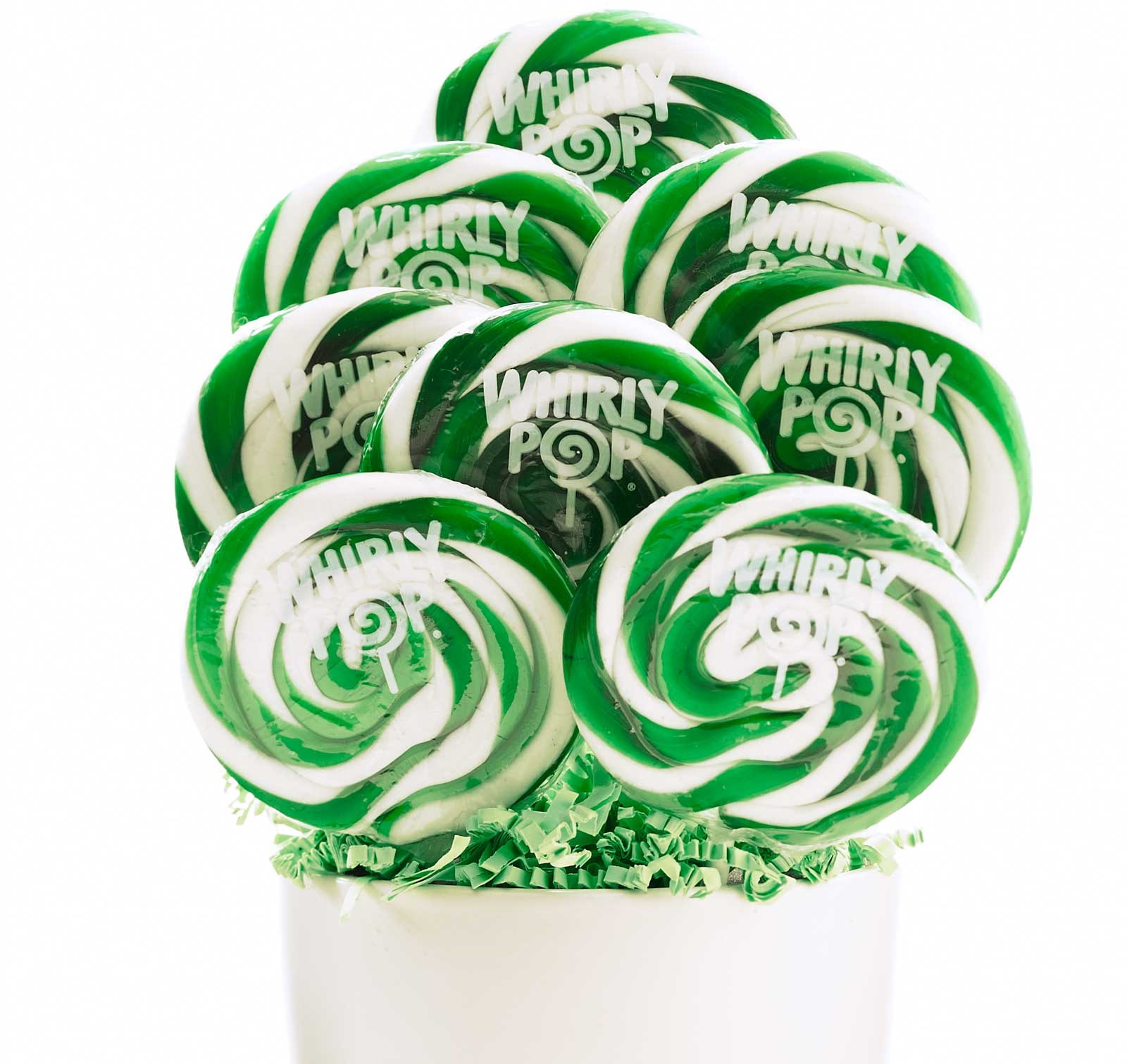 Image of Green and White Whirly Pops