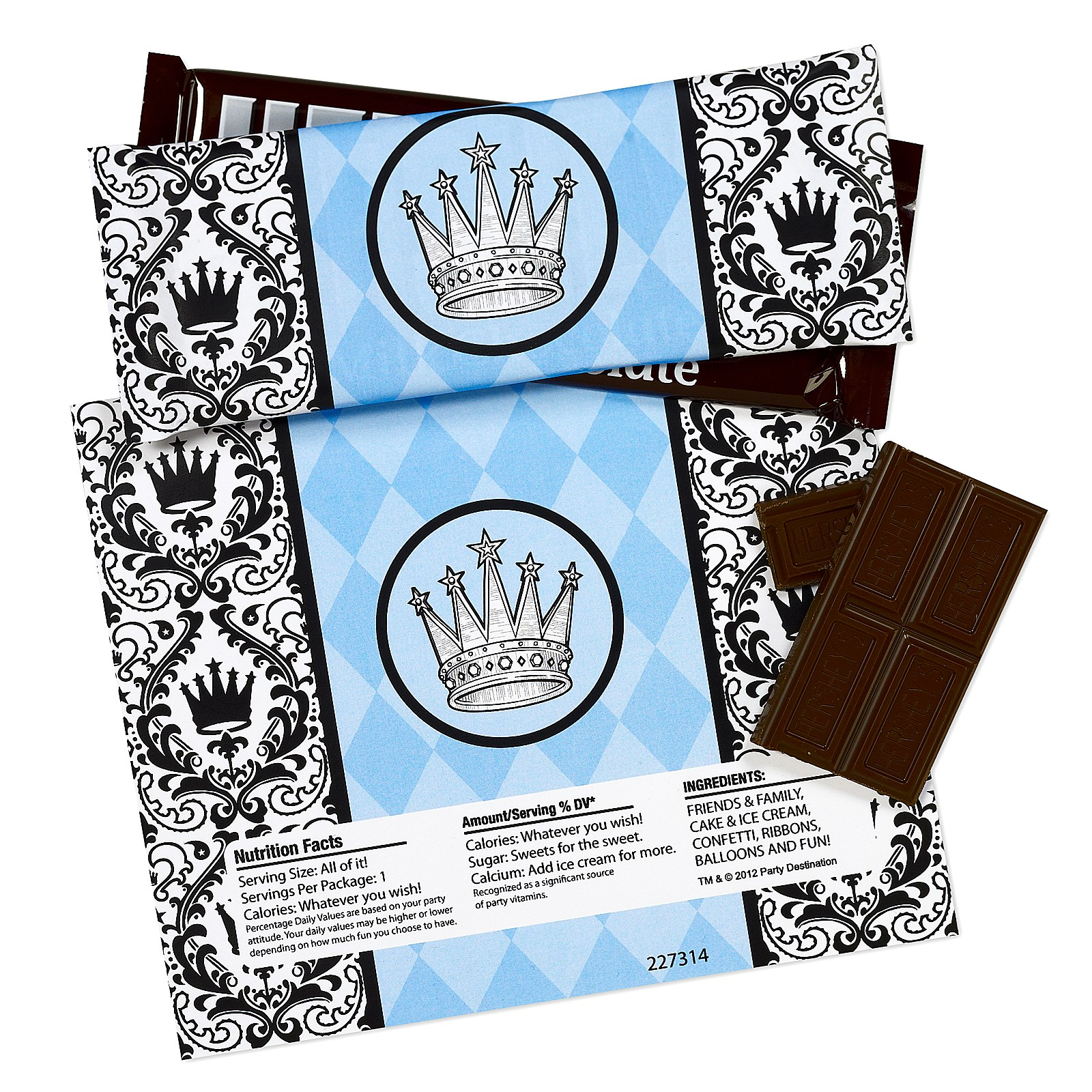 Elegant Prince Damask Large Candy Bar Wrappers