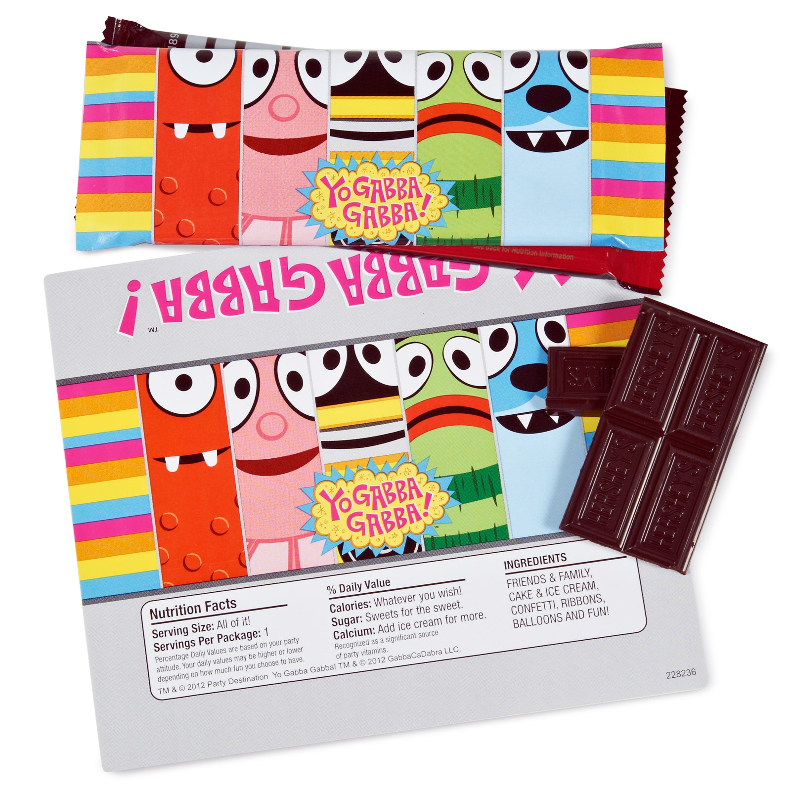Yo Gabba Gabba Large Candy Bar Wrappers