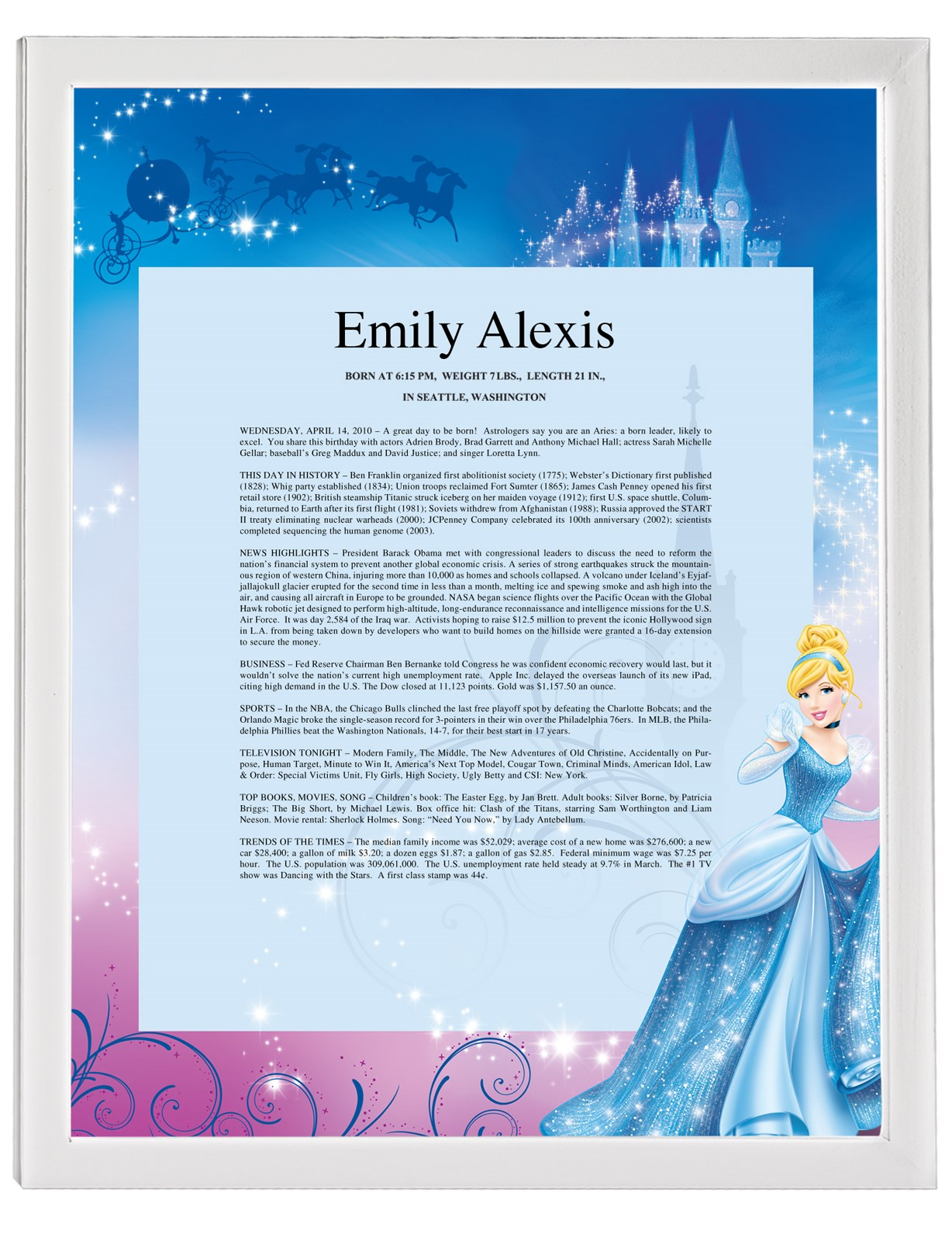 Disney Cinderella Sparkle Keepsake Scroll