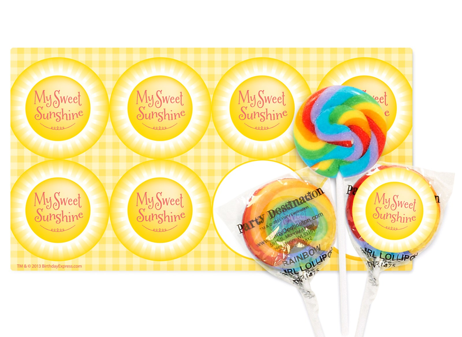 Image of Little Sunshine Party Small Lollipop Sticker Kit