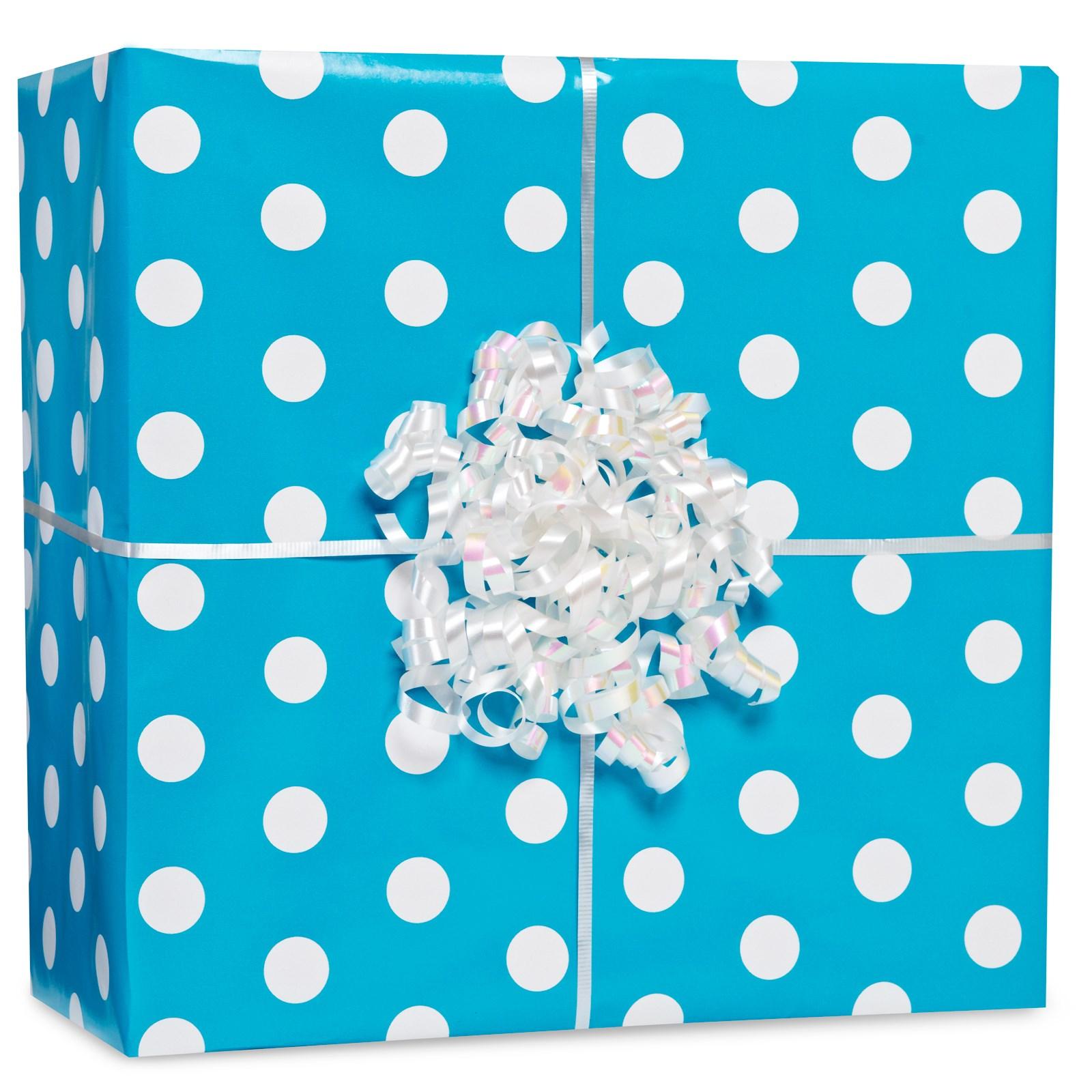 Image of Caribbean Blue Polka Dot Gift Wrap Kit