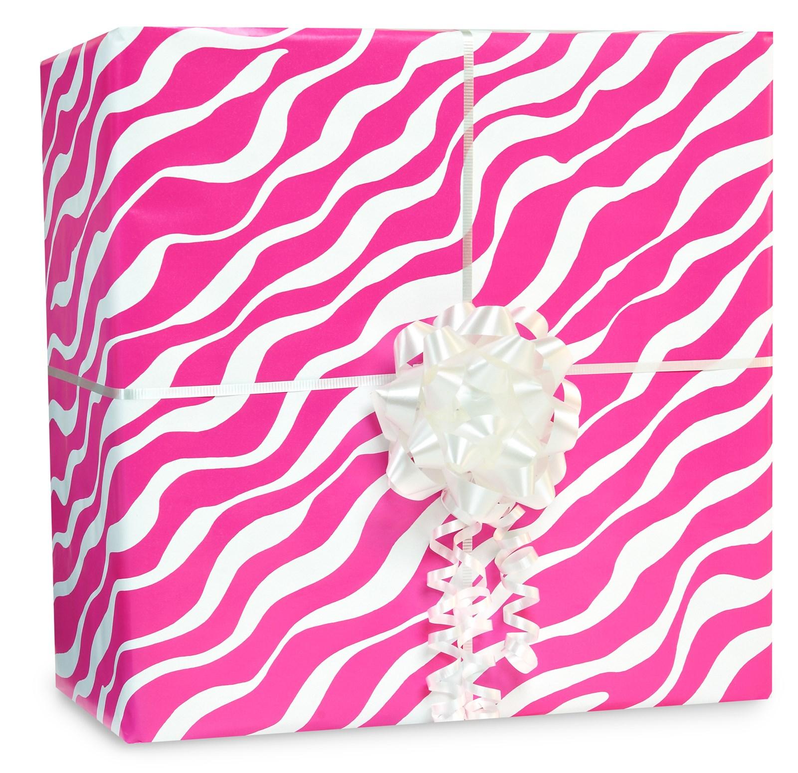 Image of Bright Pink Zebra Gift Wrap Kit