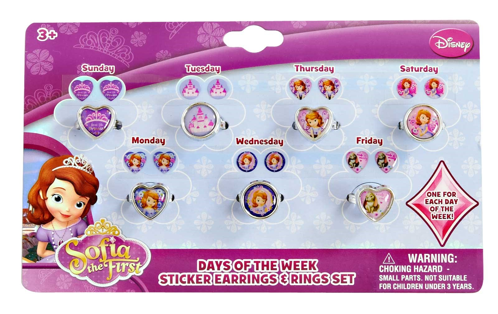 Image of Disney Junior Sofia the First - 7 Day Ring and Earring Set
