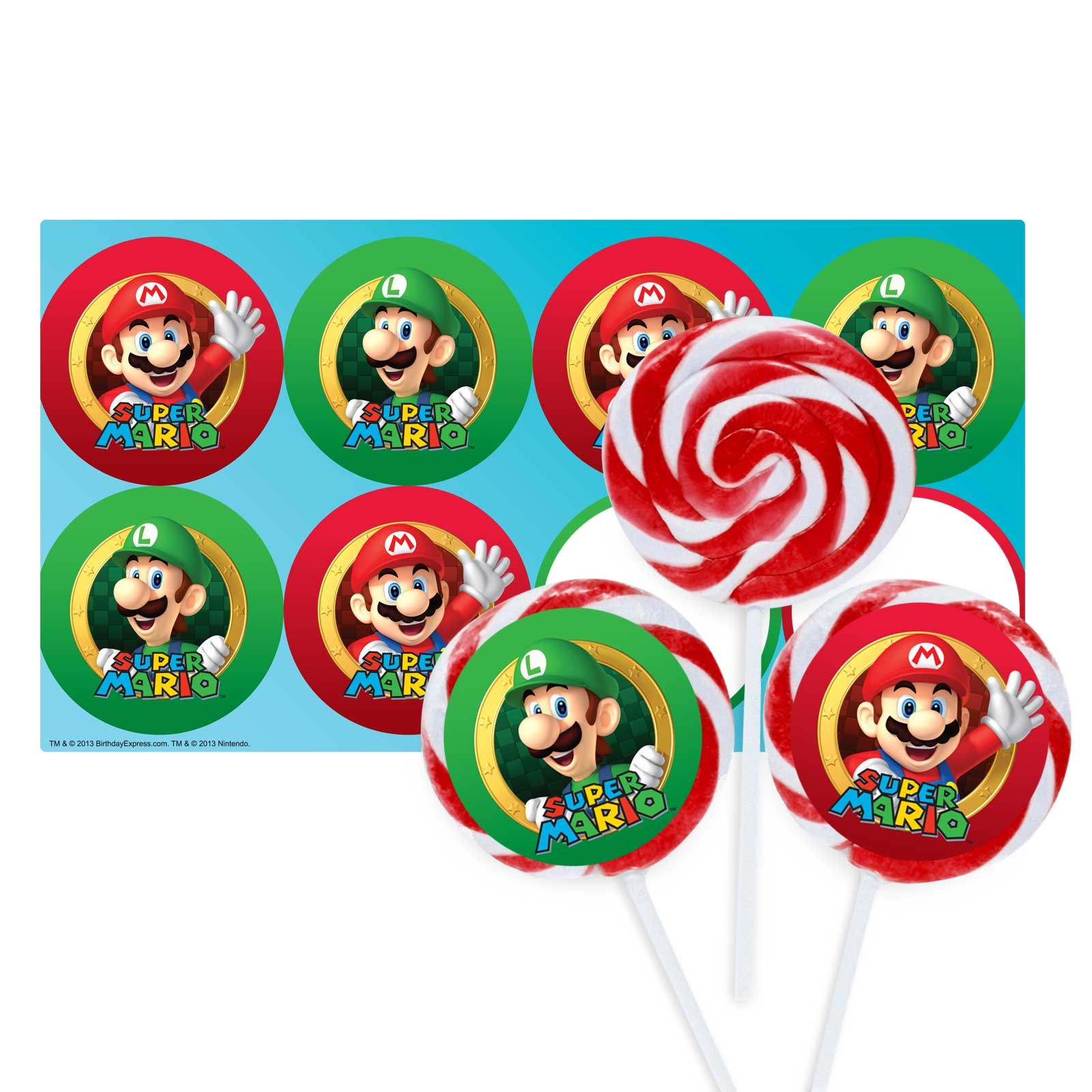 Super Mario Party Deluxe Lollipop Favor Kit