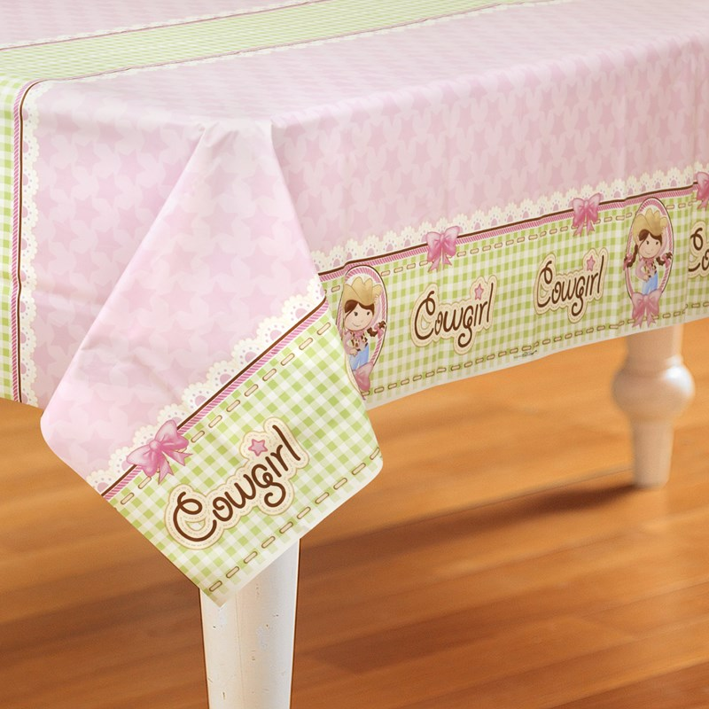 Pink Cowgirl Plastic Tablecover