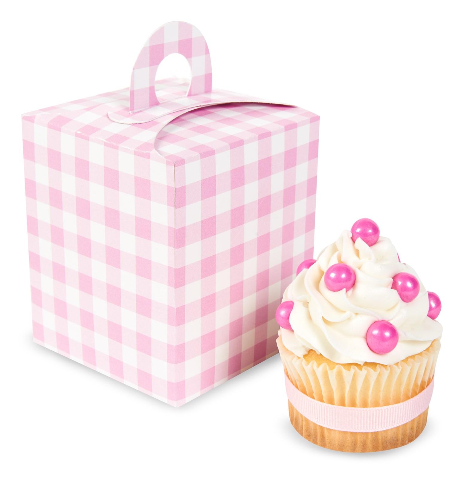 Image of Light Pink Gingham Cupcake Boxes