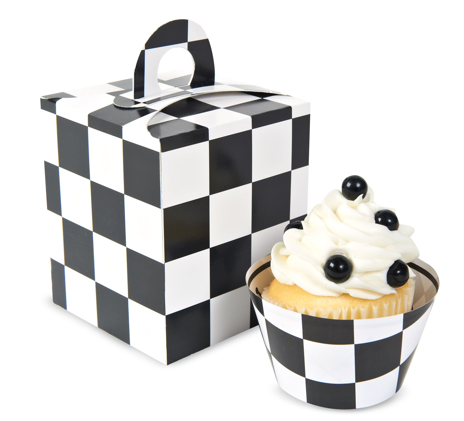 Image of Black White Checked Cupcake Boxes