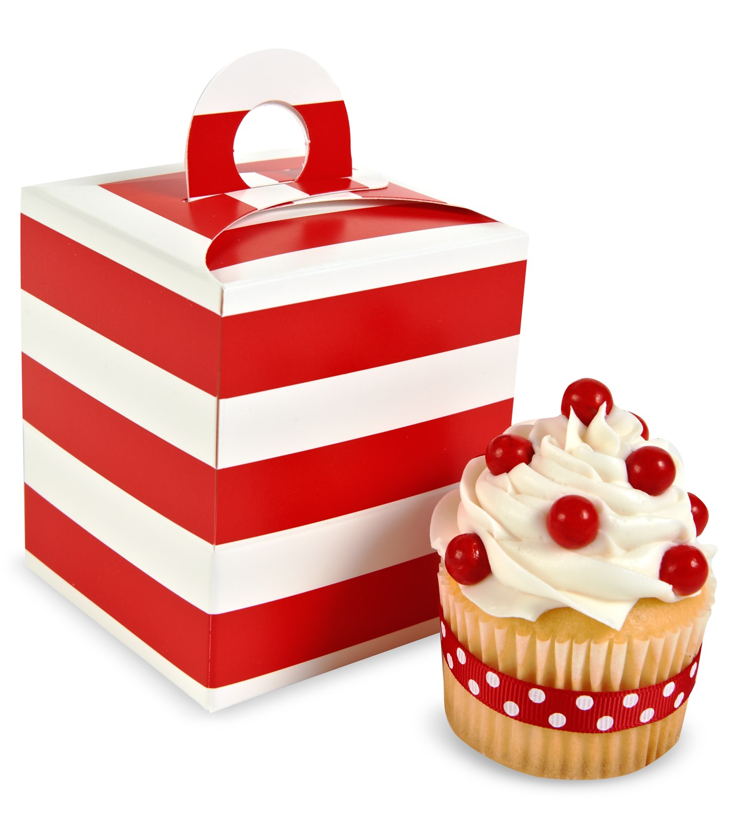 Image of Red White Striped Cupcake Boxes