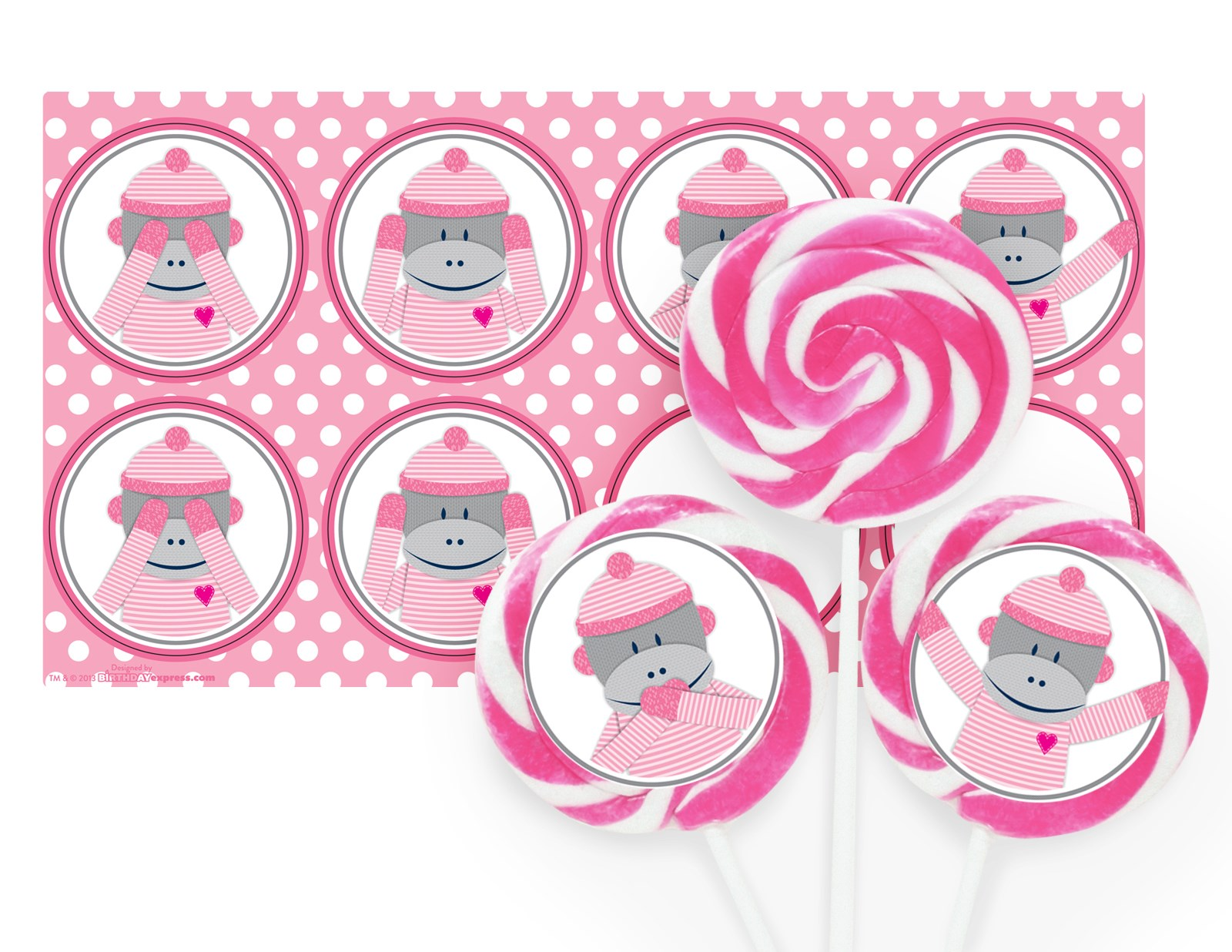 Sock Monkey Pink Deluxe Lollipop Favor Kit