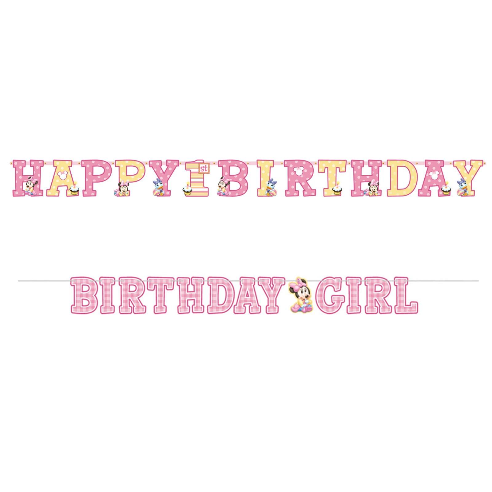 Disney Minnie 1st Birthday Jumbo Letter Banner Combo Pack kids birthday partyware
