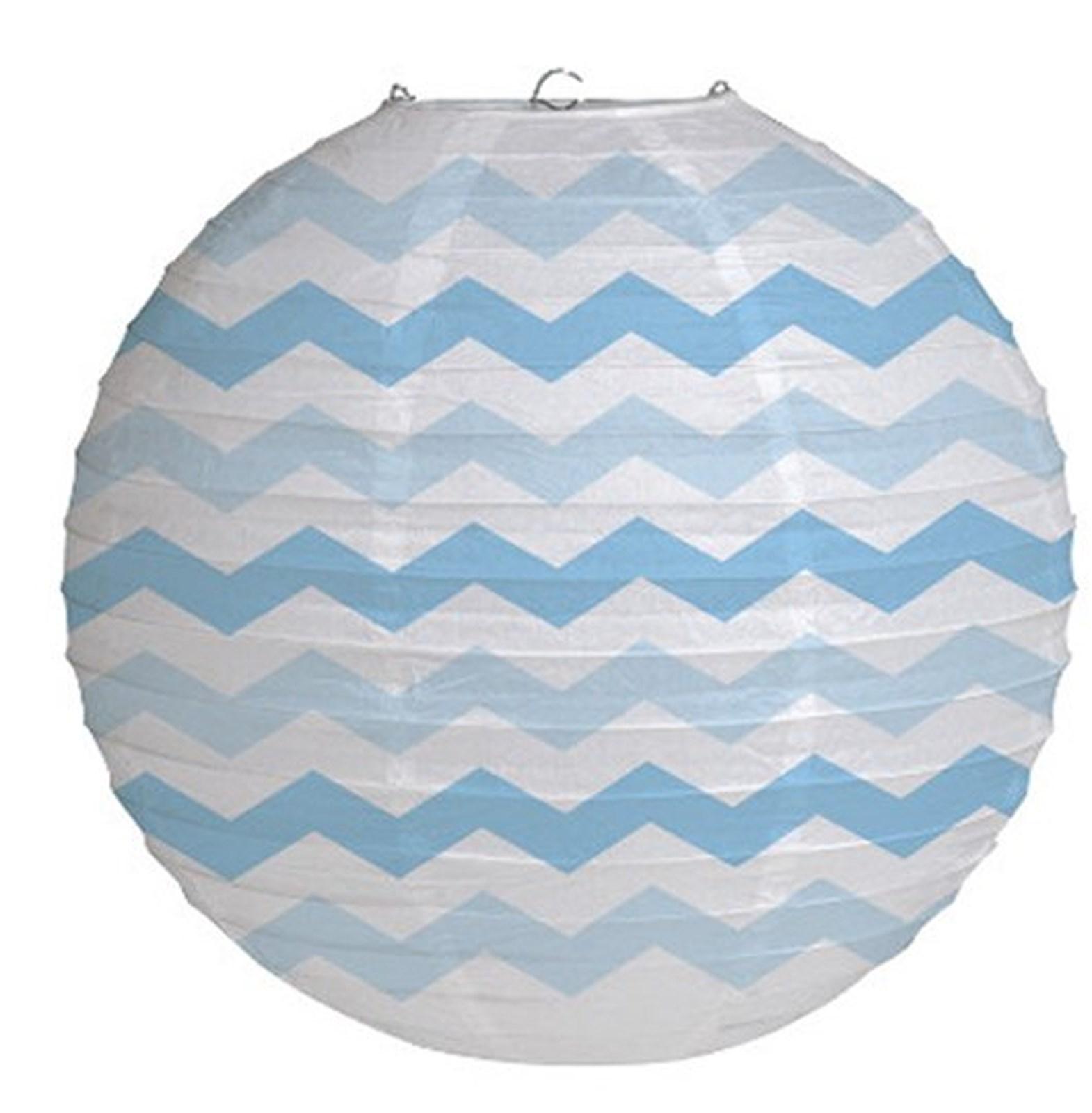 "Image of 12"" Round Paper Chevron Lantern - Pastel Blue"