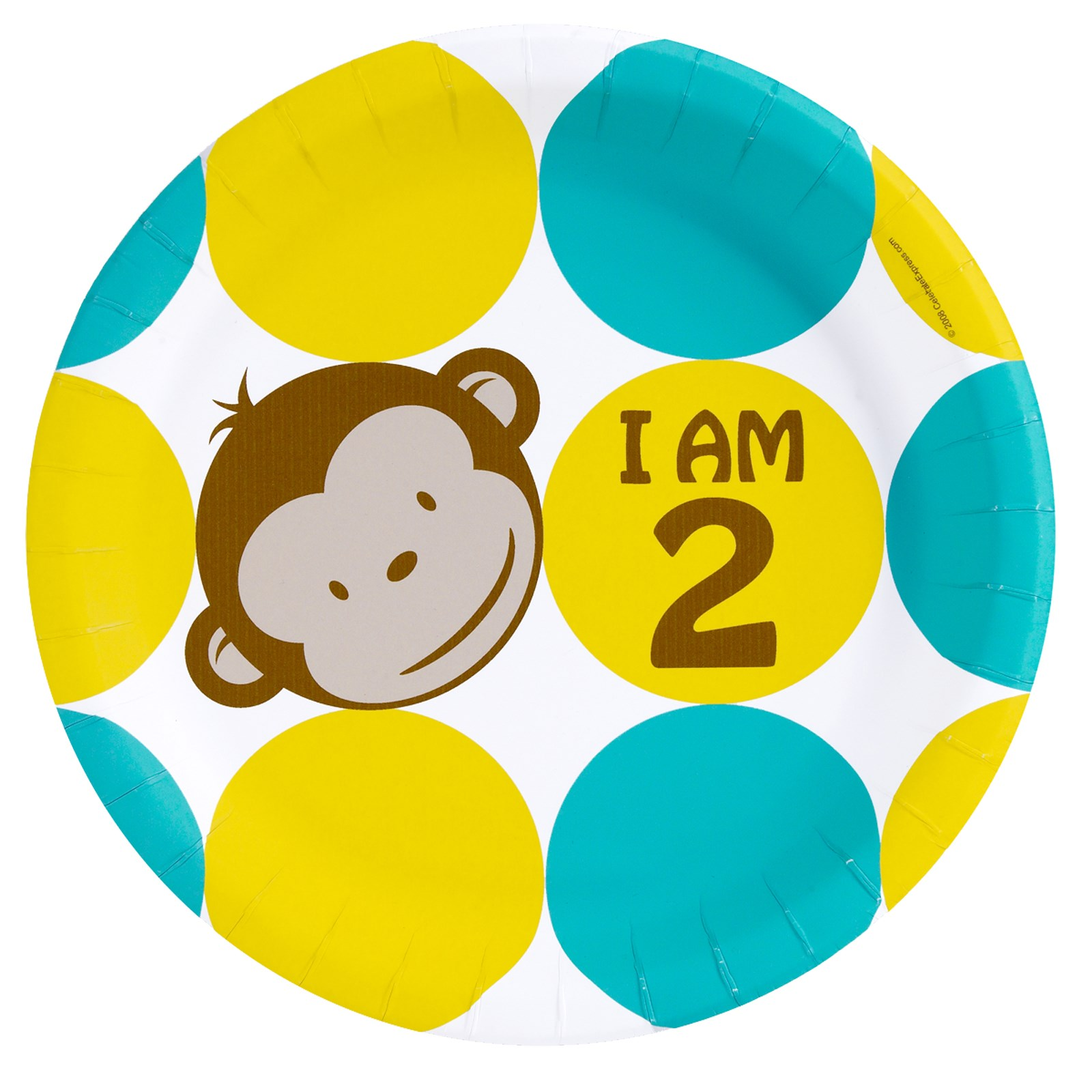 I'm 2 monkey party plates for monkey second birthday party