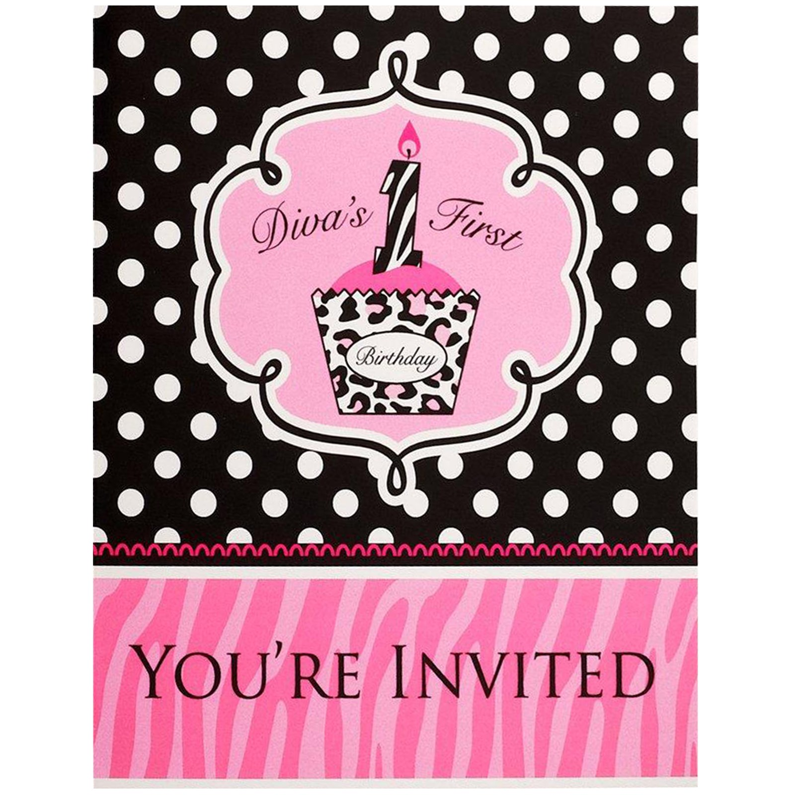 Diva Zebra Print 1st Birthday Invitations