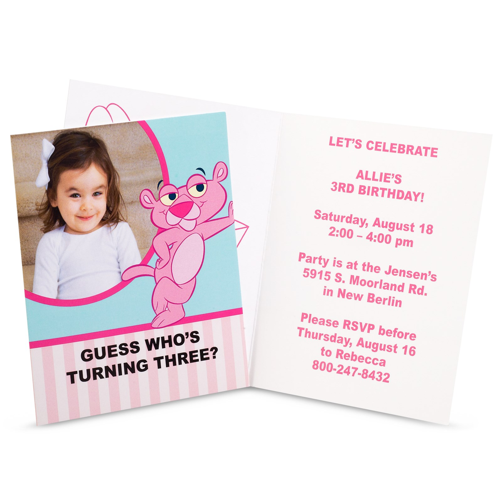 Baby Pink Panther Personalized Invitations