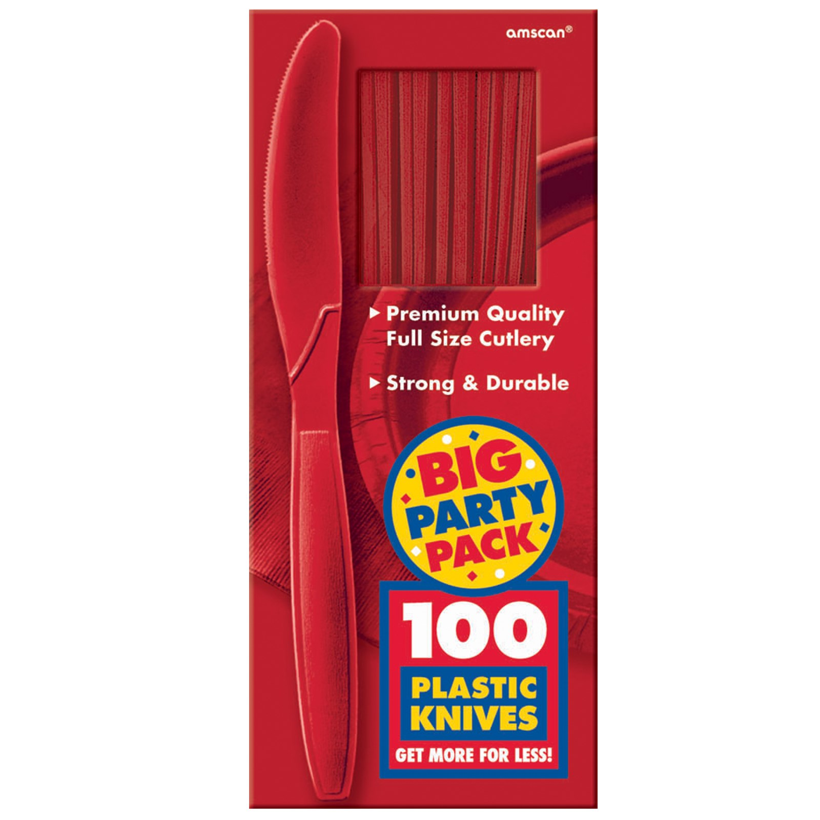 Apple Red Big Party Pack - Knives kids birthday partyware