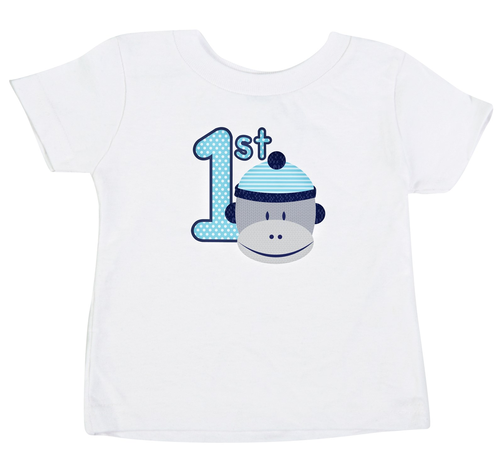 Image of Sock Monkey Blue 1st Birthday T-Shirt