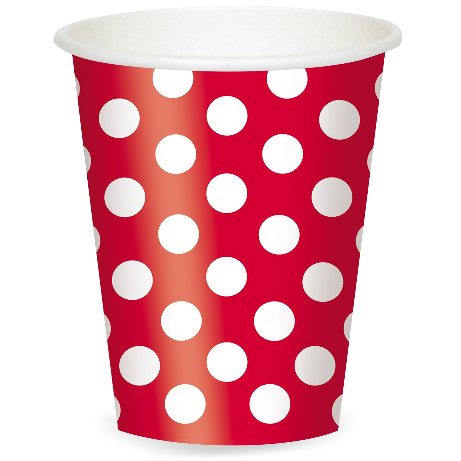 Red and White Dots 12 oz. Cups (6)