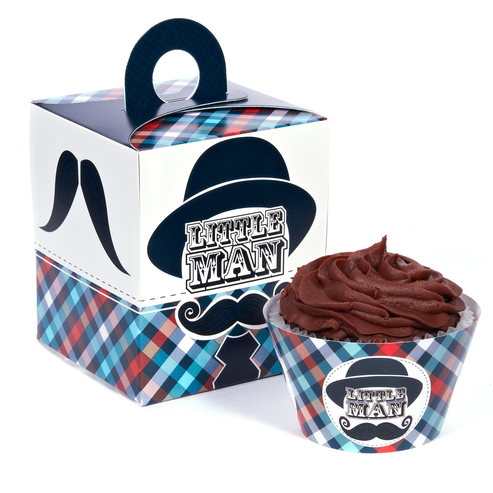 Little Man Mustache Cupcake Wrapper Box Kit