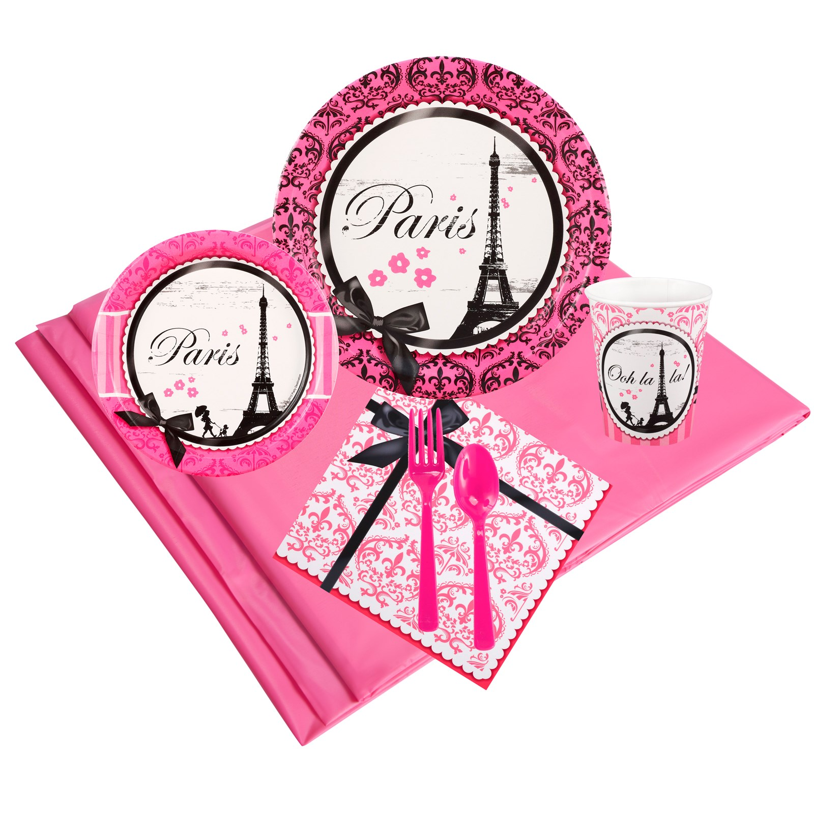 Paris Damask Value Party Pack kids birthday partyware