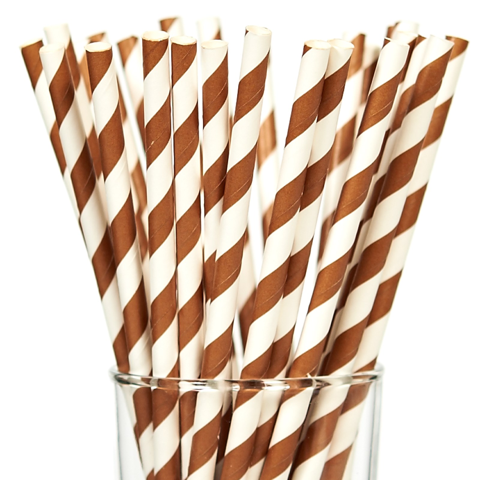 Image of Chocolate Striped Paper Straws (25)