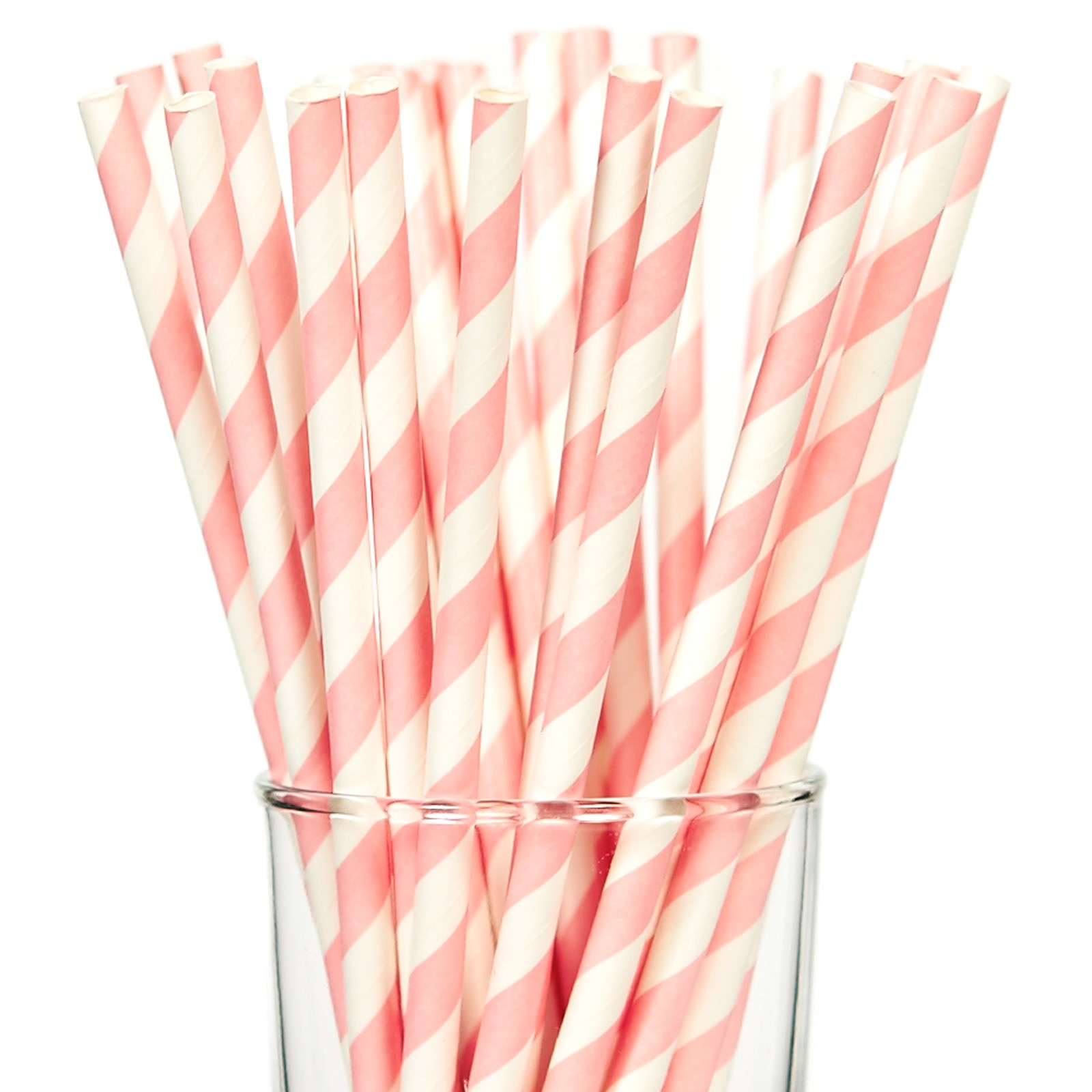 Image of Pink Striped Paper Straws (25)
