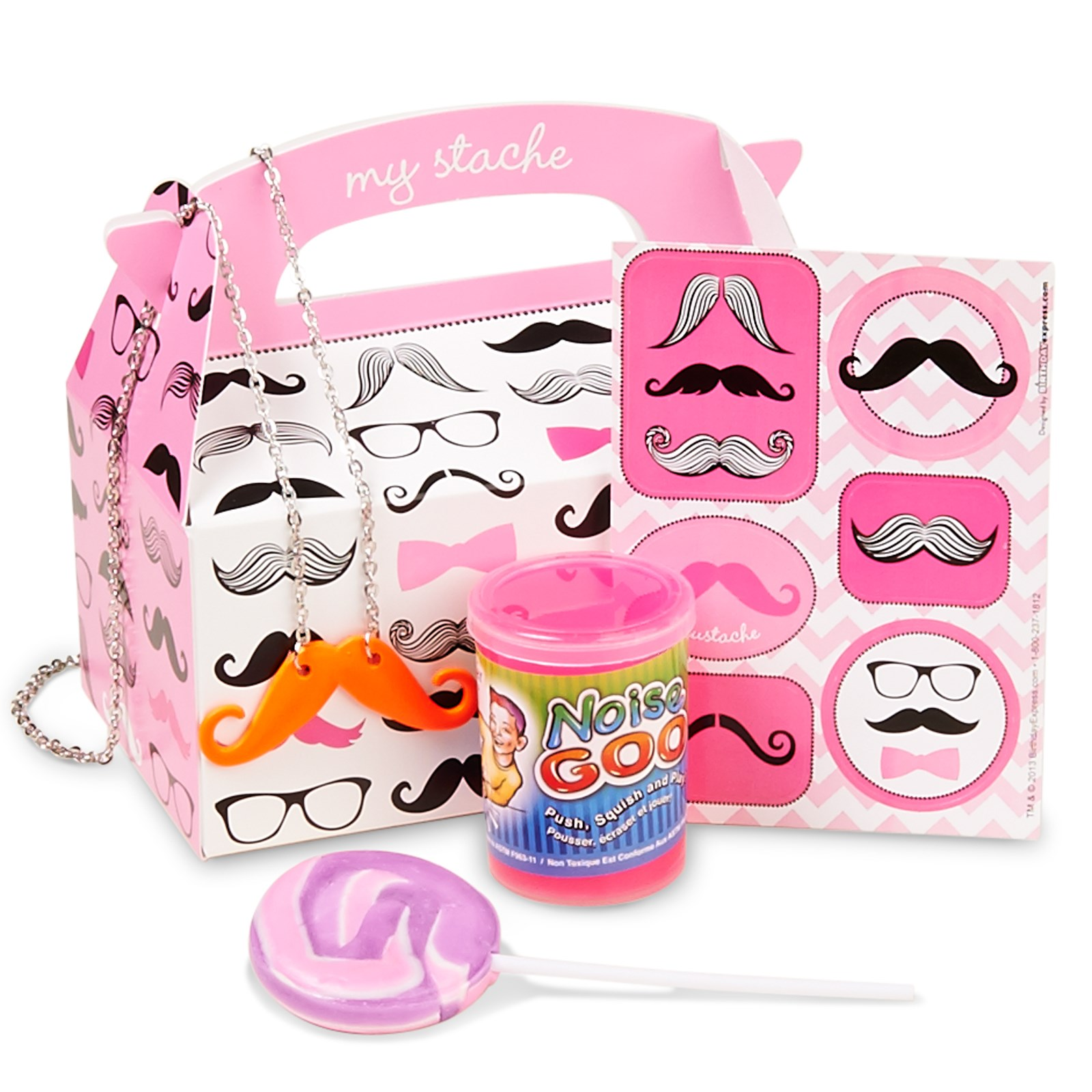 Pink Mustache Filled Party Favor Box