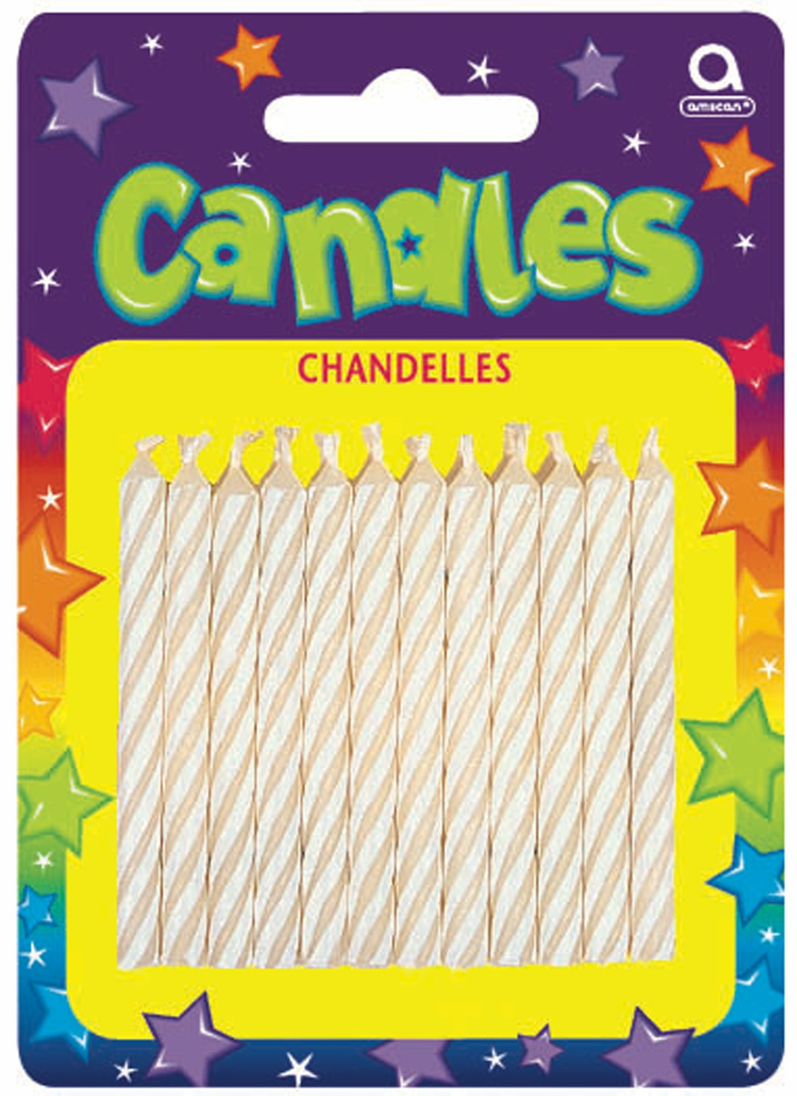 Candy Stripe White Birthday Candles (24)